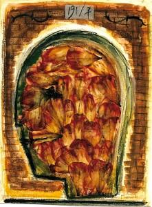 Formfindung, 1991, Aquarell, Kreide, Collage auf Karton, 47,7x36 cm
