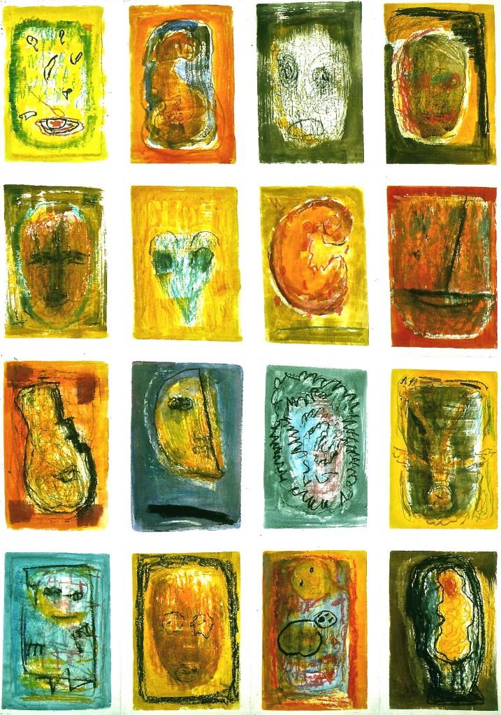 Von Innen heraus, 1996, Farbzeichnungen auf Papier/Faltung, 100x70cm