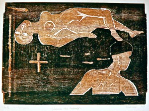 Schwimmer ohne Herkunft, 1989, Farbholzschnitt, 45,5x63,5 cm (Plattengrösse)