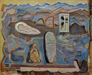 Der Ausflug (Atoll), 1995, Öl/Leinwand, 78x85 cm