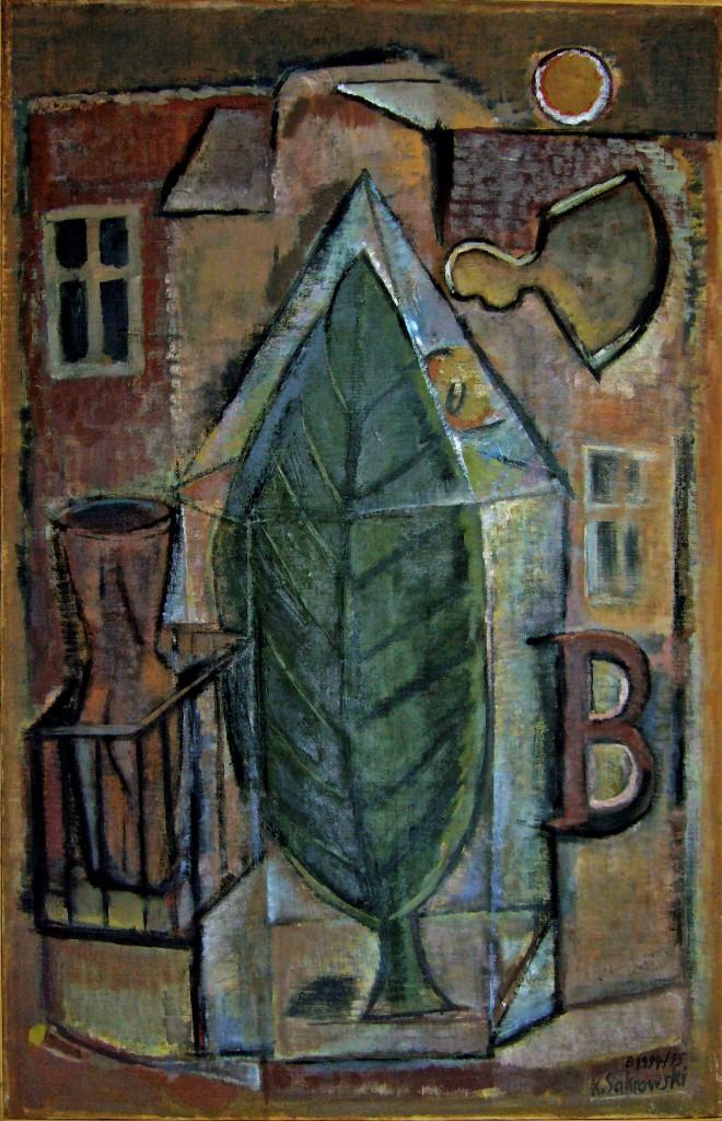 Blattgehäuse B, 1994/95, Öl/Leinwand, 100x65 cm