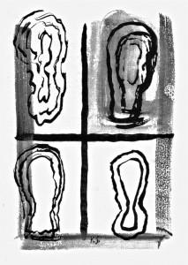 Gruppe, 2000, Illustration zu Holdger Platta, Tusche laviert, auf Karton, org: 27x19 cm