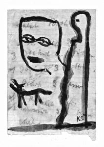 Heimweg,2000, Illustration zu Holdger Platta, Tusche laviert auf Karton, 27x119 cm
