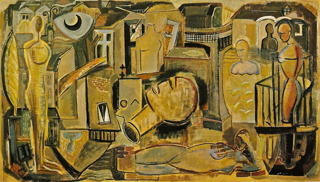 VOR-ORT-BERLIN,1989/91, Öl/Leinwand,159x280 cm