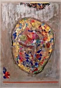 Komet 5 (Für B.), 2003 Collage und Gouache auf Graukarton, 59,5x50 cm