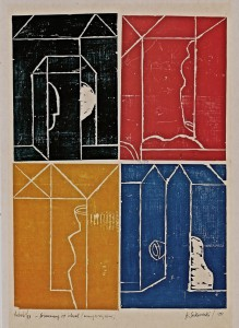 Erinnerungsblatt, 1989, Farbholzschnitt, 88x63 cm