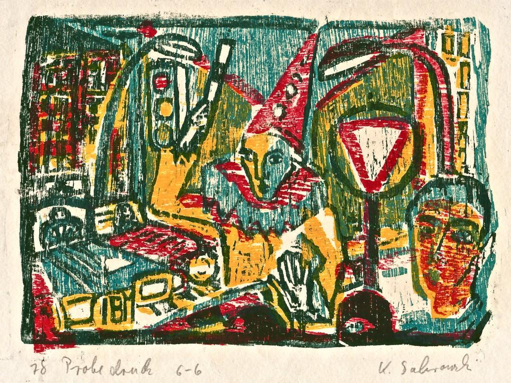 Strassentraum, 1978, Farbholzschnitt von 3 Platten, 16x22,5 cm