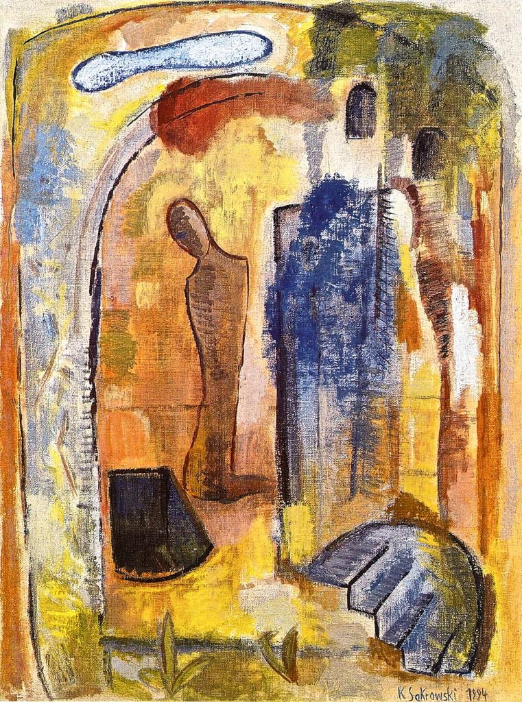 Die Grube, 1994/95, Öl/Jute, 120x90 cm