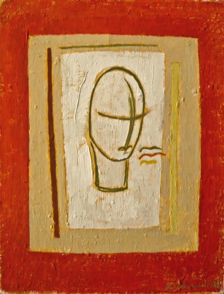 K.S., 2003, Komposition L, (Lächeln),  Öl auf Leinen, 32x25