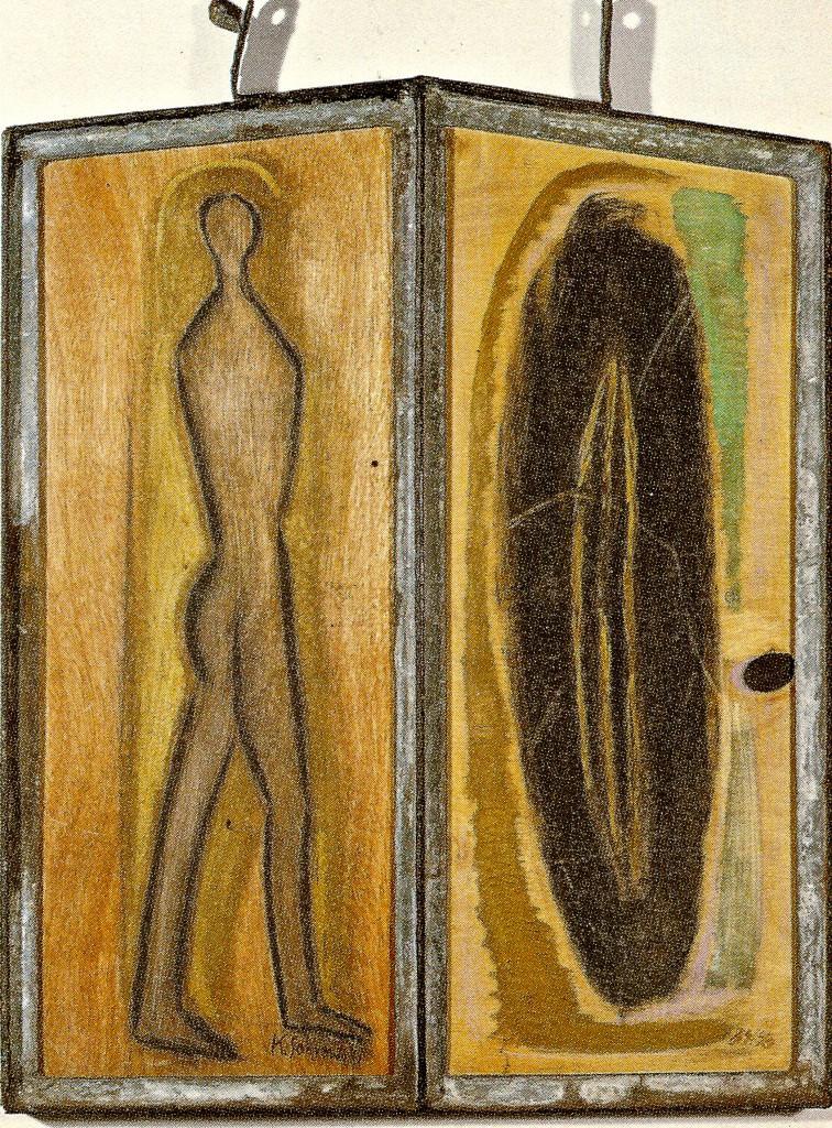 Prophet für eine Malerin,1989/90 K.S., Bildobjekt/ Eitempera auf Holz, Eisen