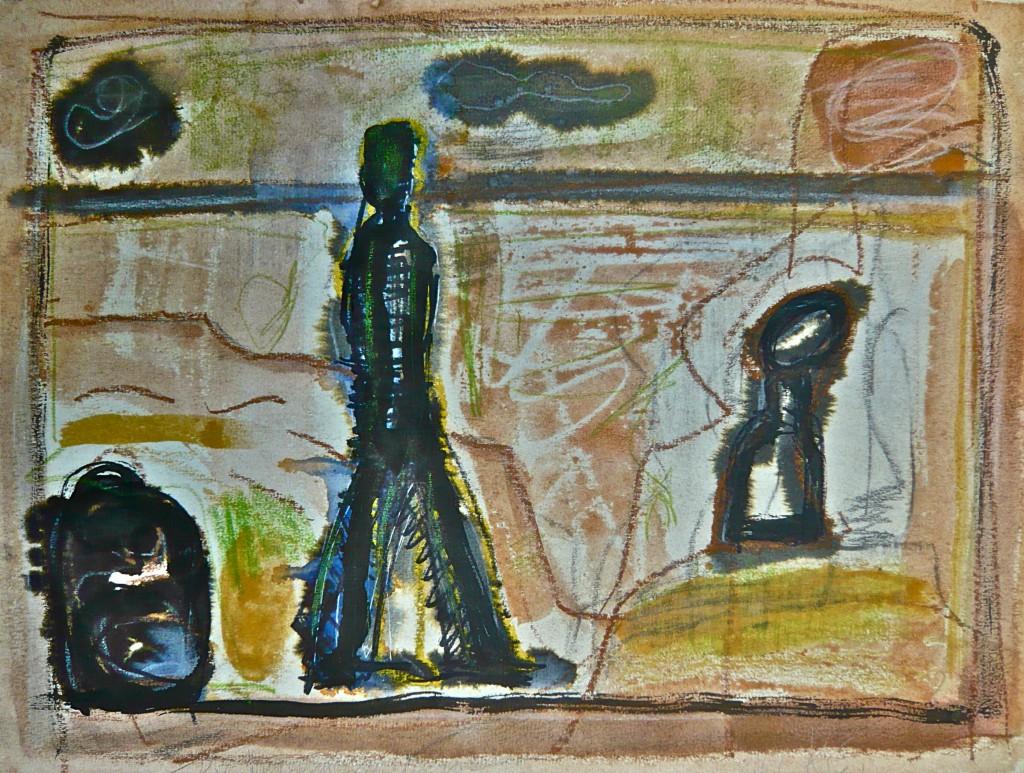 K.S., 2004,Die Wanderung im Eigenen, Mischtechnik auf Büttenpapier, 29x39,5 cm