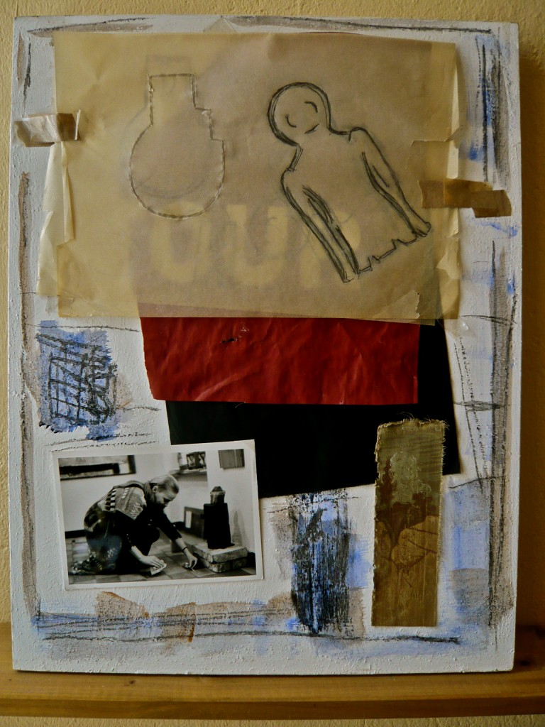 K.S.,!989/2013 Malmittel, , Material-Collage auf Malgrund, 50x38,5 cm