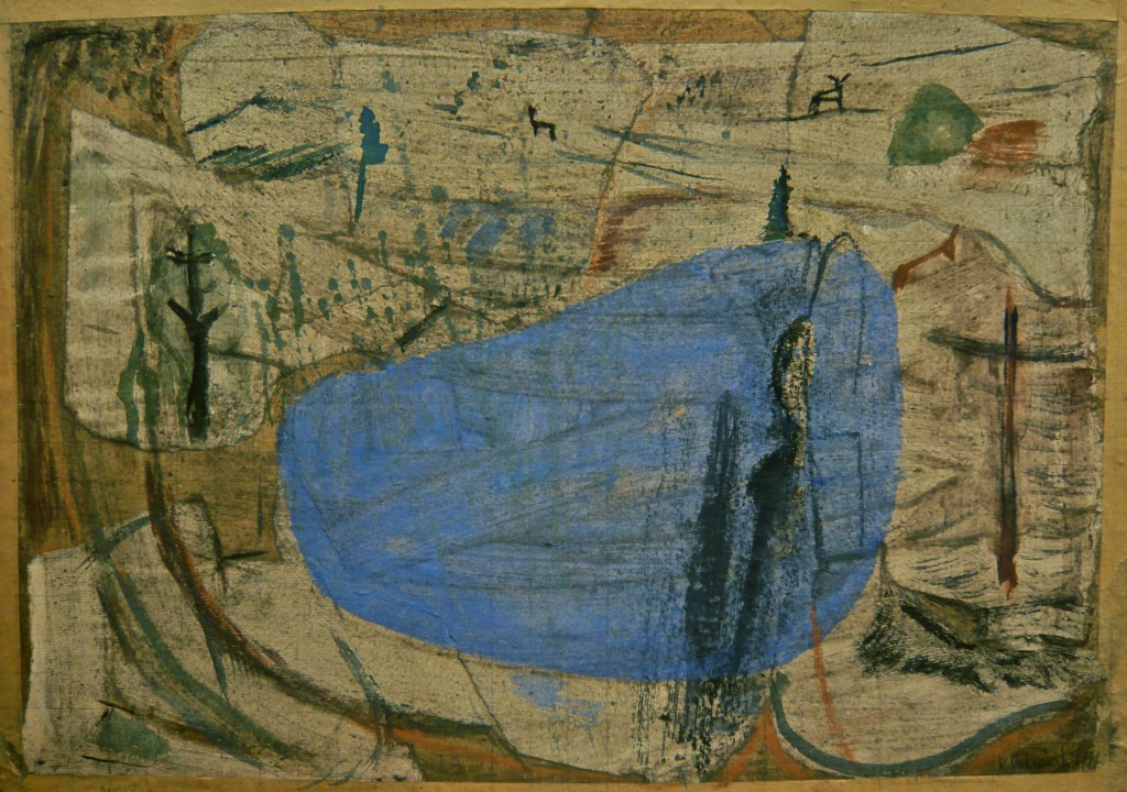K.S., 1991, Mein Seeblick, Collage und Mischtechnik auf Karton,42x59 cm