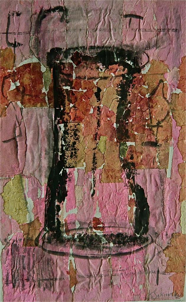 -Gefäß-, K.S., 2000,Collage auf grauem Karton 49x37,5 cm
