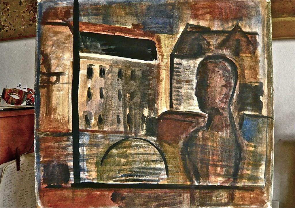 Berliner Fensterblick, K.S., 1989, Mischtechnik auf Kaorton, 51,5x57cm, Atelieraufnahme 2013