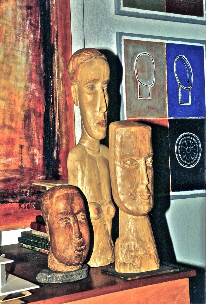 Im Atelier, 3 Holzskulpturen, K.S., 90er Jahre bis 2001