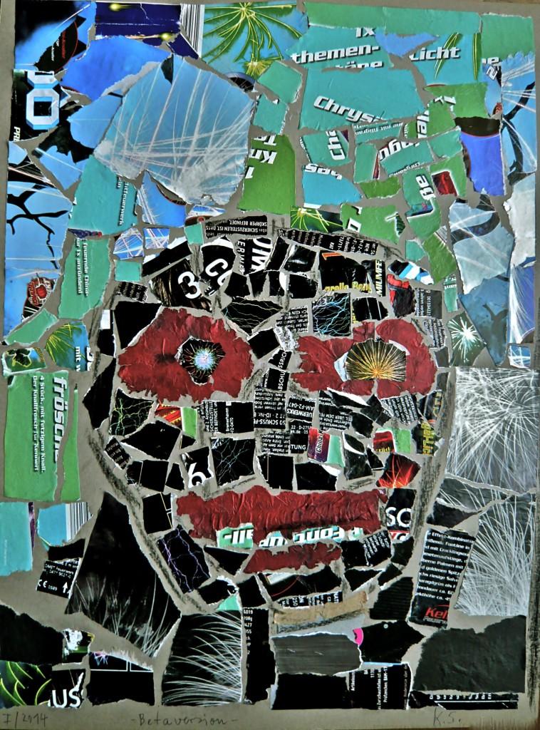 K.S., 2014, Böller-Collage auf grauem Karton