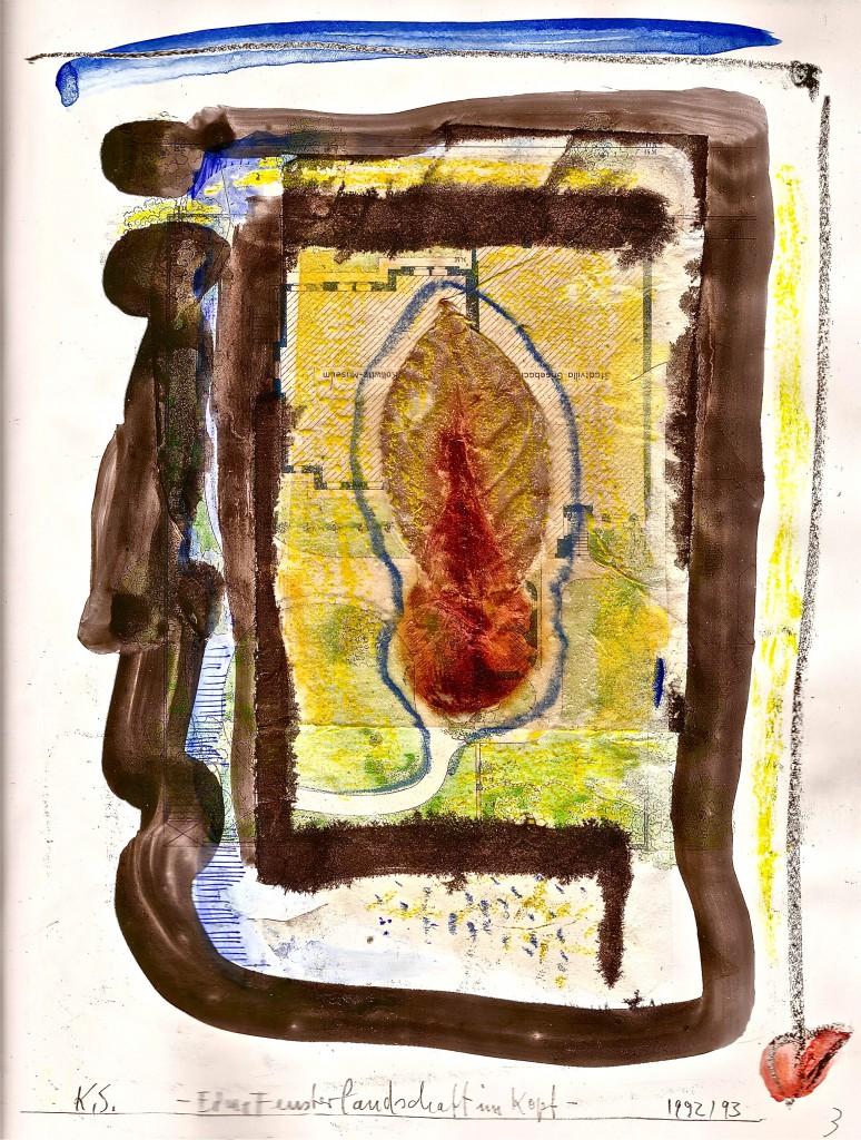 -Fensterlandschaft im Kopf- K.S., 2014, Collage,Stifte und Tusche auf Buchdruck, 26x20