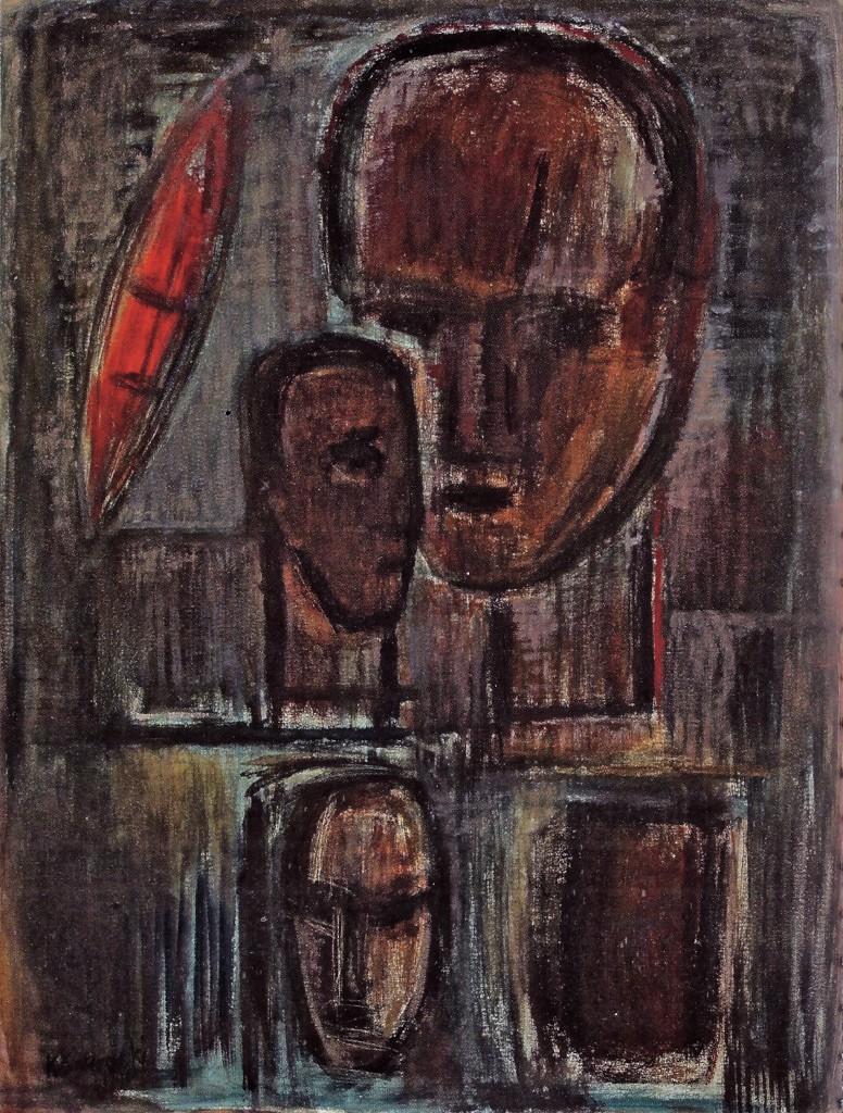 K.S., Große Köpfe, 1990,Öl auf Leinwand, 141x111cm