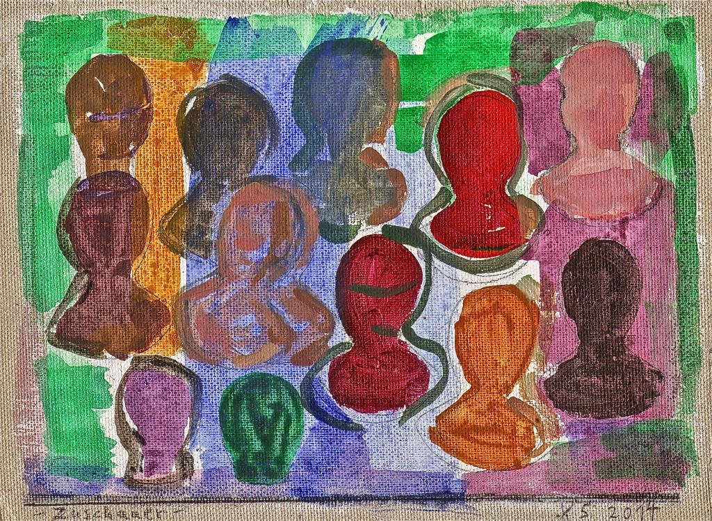 Im Farbgarten, K.S., 2014, Entwurf, Acryl auf Mal-Karton, 15x20