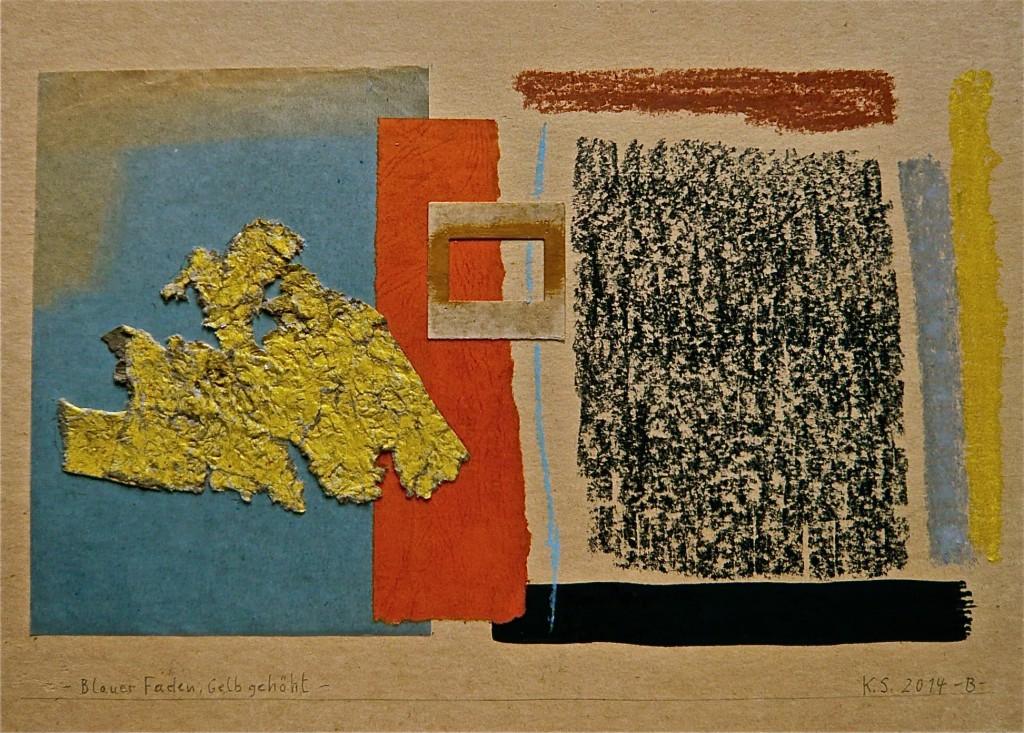 K.S.,  2014, Collage, Pastel und Gouache auf gelblichem Karton