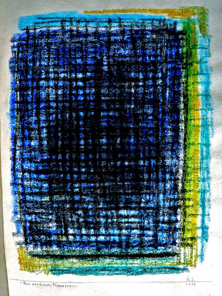 K.S.,2014, Tageblatt, Zeichnung, Abreibung/Pastell, 47x37 cm