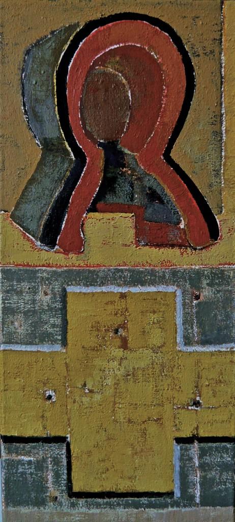K.S., 2013, Öl auf Leinwand, Zwei von Fünf Bildzeichen, 50x23 cm