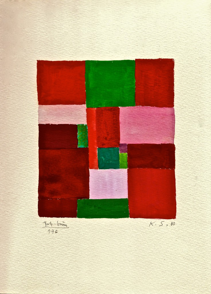 K.S., 2000, Rot-Grün,  Wasserfarben auf Aquarellkarton, 28x20