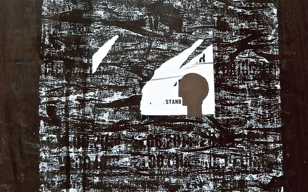 K.S., 2014, Detailaufnahme, Collage auf Abriss