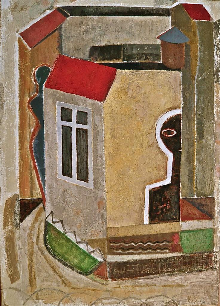 -Heißer Sommer (Die Hausmeister)-, K.S., 2014, Öl auf Leinwand, 70x50cm