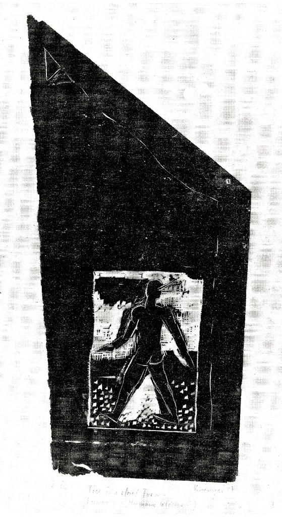 -Free in a closed form- Karin Sakrowski, 1987, Fundstück-Druck (Linolschnitt), schwarz auf Japanpapier