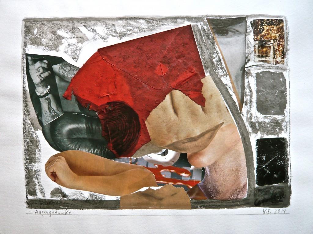 -Augengedanke- K.S., 2014, Collage, Stifte und Tusche auf Aquarellkarton, 30x39,8
