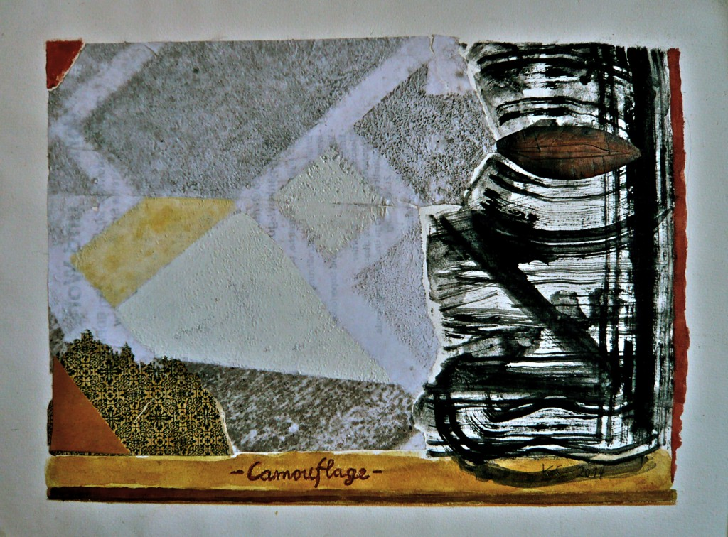Camouflage K.S., 2014, Collage/Mischtechnik, auf Aquarellkarton, 30x40