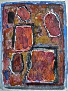 K.S., 1995, Collage und Mischtechnik auf Aquarellkarton, 39,6x40 cm