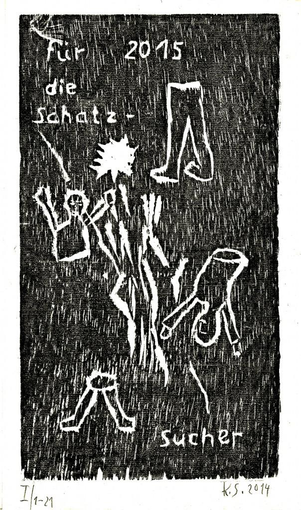 Für 2015, K.S., 2014, Holzschnitt, Handabdruck auf Japanpapier, 27x19cm