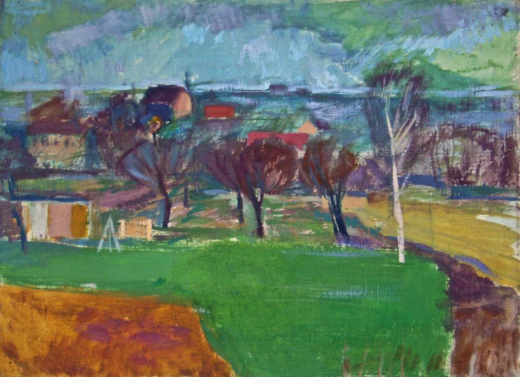 K.S., 70iger Jahre, in Wilhelmsruh, Landschaftsstudie, Öl auf Leinwand, 29x40 cm
