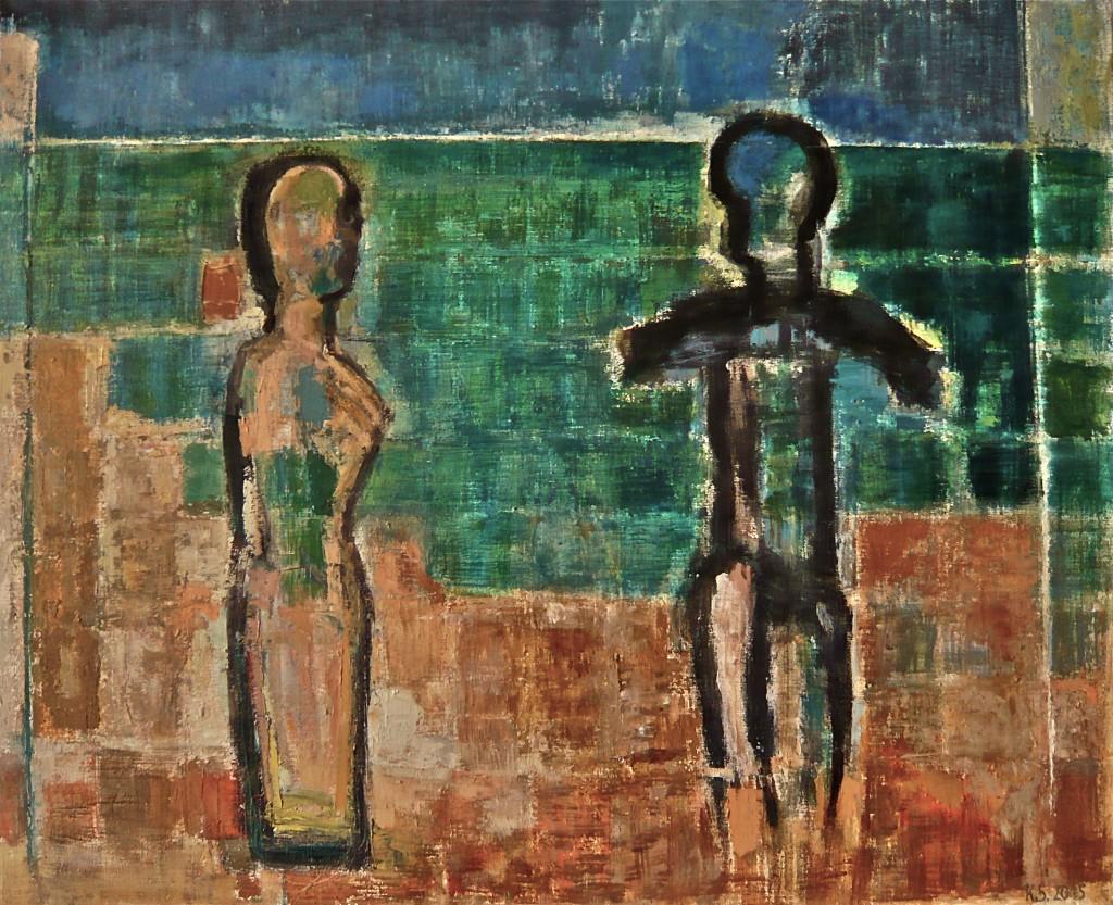 K.S., 2015, Landschafts-Raum mit Paar, Öl auf Leinwand, 90 x110 cm,