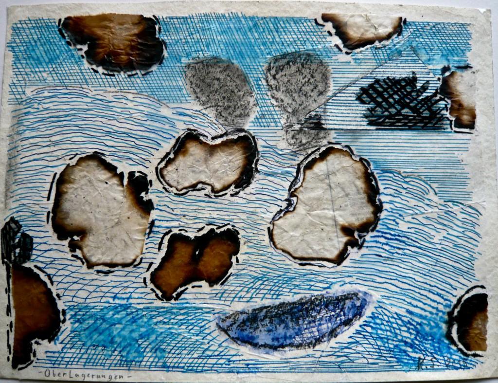 K.S.,-Überlagerung- 2015, Collage und Mischtechnik auf Aquarellkarton, 24x32cm