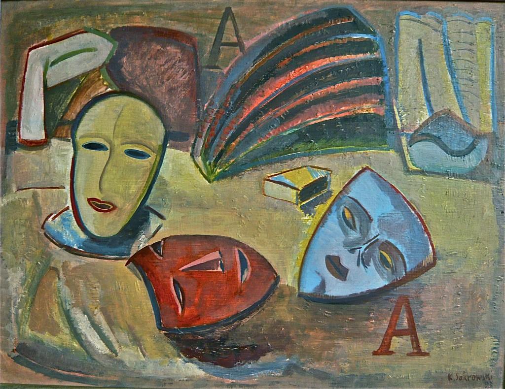 K.S.,1993,Hinter der Bühne (Aschermittwoch), ÖL auf Hartfasertafel,48x62 cm