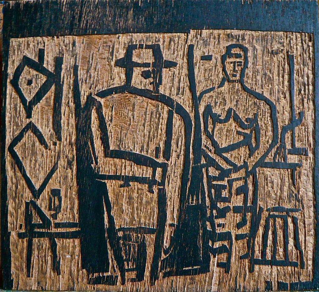 K.S., 1981, -Mann und Frau im Haus, Druckstock, 39x42 cm