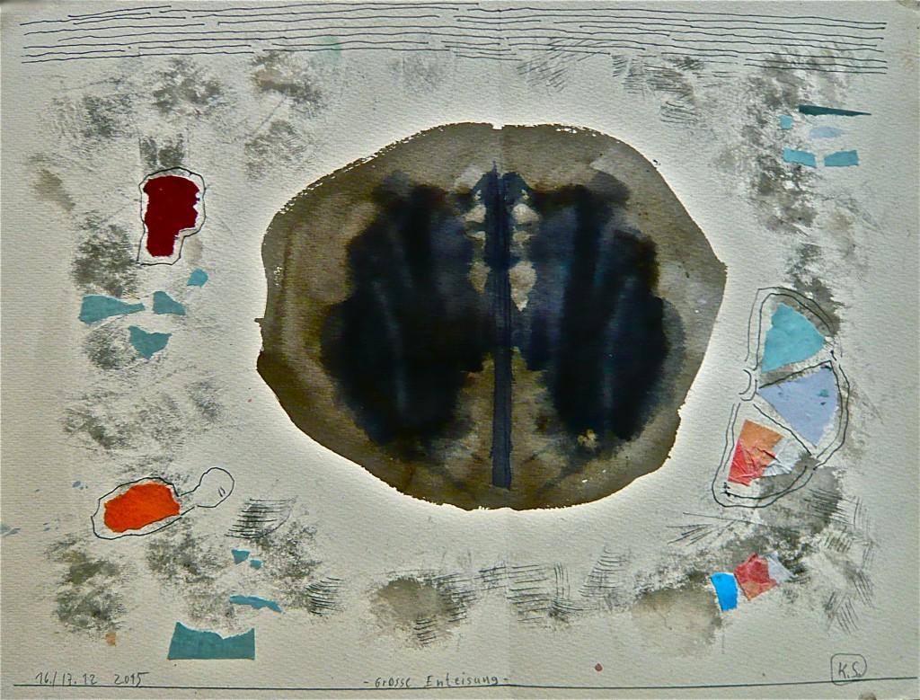 K.S., 2015, -Grosse Enteisung- Farbzeichnung,Tusche, Feder, und Collage auf Aquarell-Karton, 36x48cm