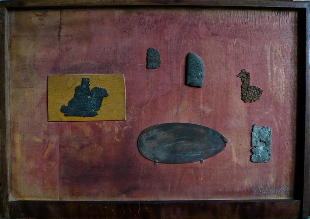 K.S., 1987, Assemblage, Fundstücke, Holz, Tusche, 37x53 cm