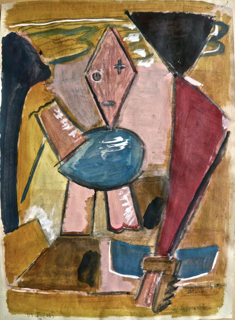 K.S., 2005, -Deutschstunde-Mischtechnik auf Achatpaoier(tonig), 34,5x25 cm