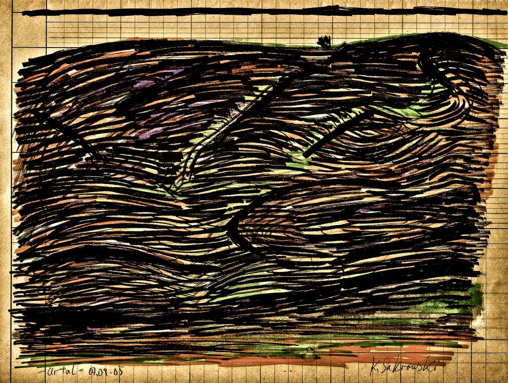 K.S., 2005, -Urtal-, Stifte über liniertem Papier, 21x28,2 cm
