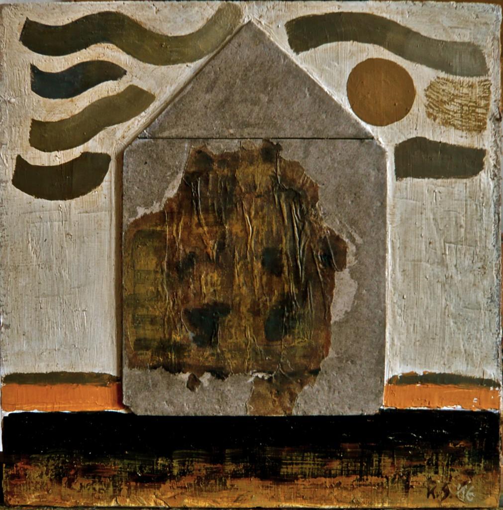 K.S.'16, Öl und Fundstück-Collage-Objekt auf Hartfasertafel, 29,5x29,5, (für HenryThoreau)