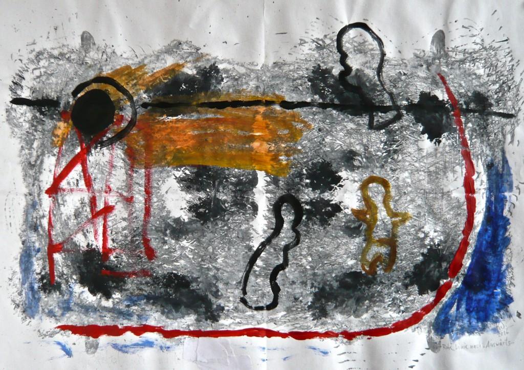 K.S., 2016, - Rote Linie-Mischtechnik auf Industriepapier, 42x59 cm