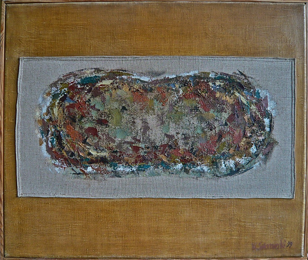 K.S., 1999,-Duale1-, Bildobjekt, Öl auf Leinwand, Leinenfläche vernäht,
