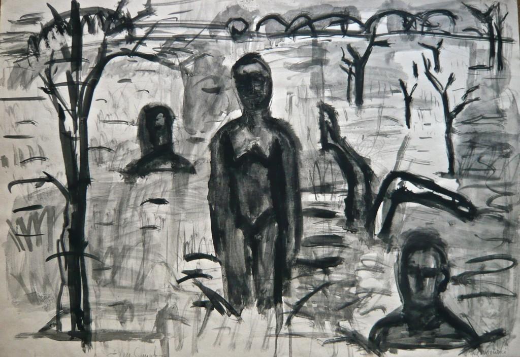 K.S., -Sumpflandschaft-1985/86, Entwurfszeichnung, Gouache und Tusche auf Karton, 44,5x64 cm