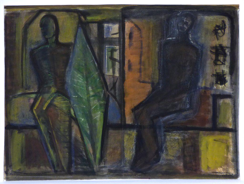 K.S.,-Figuren im Zwischenraum-, Mischtechnik auf Industriekarton, 53,7x72,4 cm