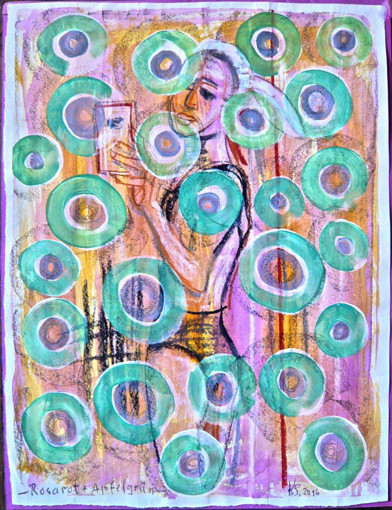 -Rosarot und Apelgrün-, K.S., 2016, Farbzeichnung, Mischtechnik auf Papier, 51x39 cm